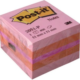 Cubo 400 notas Post-it rosas 51x51 mm.  2051-P