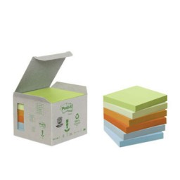 6BL100 notas Post-it recicladas colores sutidos 76 x 76 mm. 654-1GB