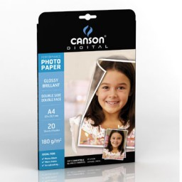 20HJ papel Glossy Performance 180g/m² 2caras A-4 Canson 200004321