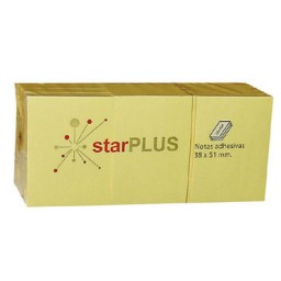 12xBL100 notas amarillas 38x51 mm. 77080160 starPLUS NOTA38