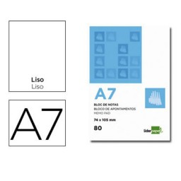 Bloc notas Din A-7 liso Liderpapel 10436